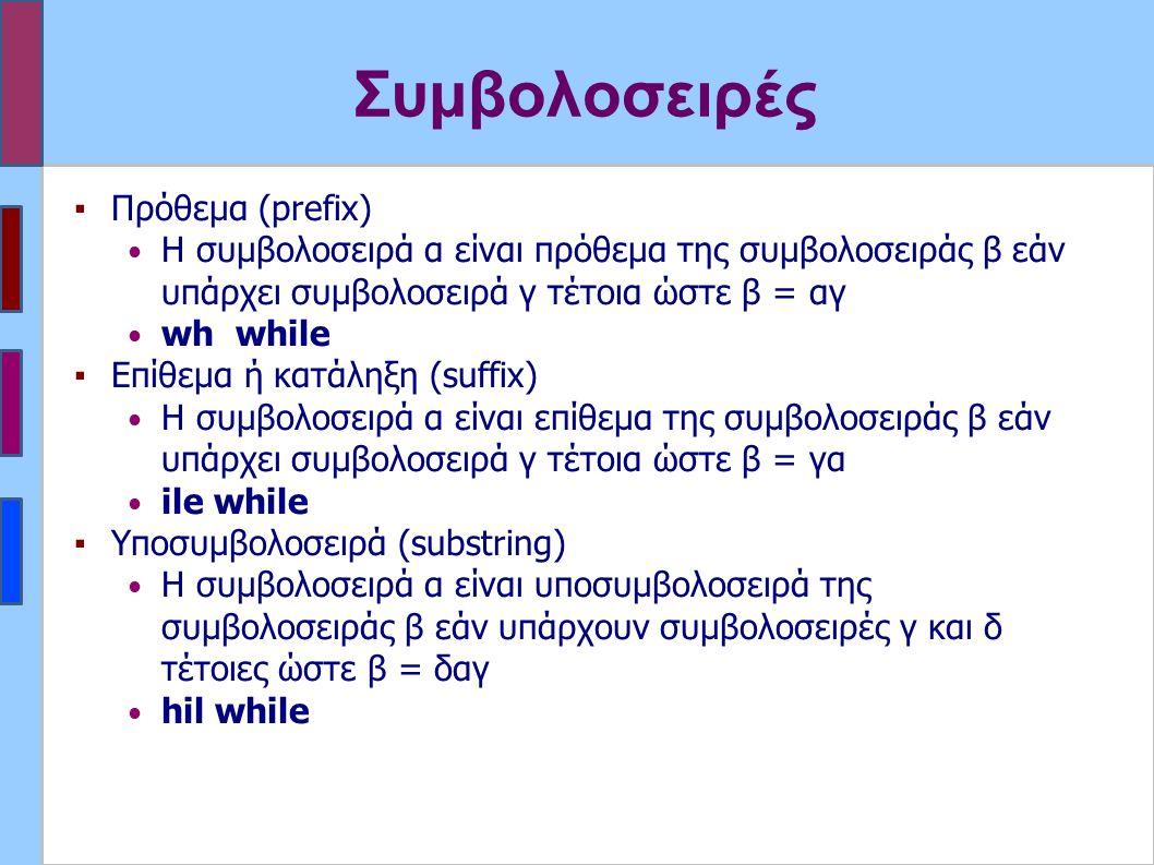 Συμβολοσειρές ▪Πρόθεμα (prefix) Η συμβολοσειρά α είναι πρόθεμα της συμβολοσειράς β εάν υπάρχει συμβολοσειρά γ τέτοια ώστε β = αγ wh while ▪Επίθεμα ή κατάληξη (suffix) Η συμβολοσειρά α είναι επίθεμα της συμβολοσειράς β εάν υπάρχει συμβολοσειρά γ τέτοια ώστε β = γα ile while ▪Υποσυμβολοσειρά (substring) Η συμβολοσειρά α είναι υποσυμβολοσειρά της συμβολοσειράς β εάν υπάρχουν συμβολοσειρές γ και δ τέτοιες ώστε β = δαγ hil while
