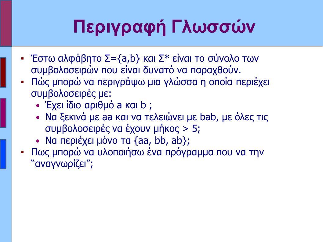 Περιγραφή Γλωσσών ▪Έστω αλφάβητο Σ={a,b} και Σ* είναι το σύνολο των συμβολοσειρών που είναι δυνατό να παραχθούν.
