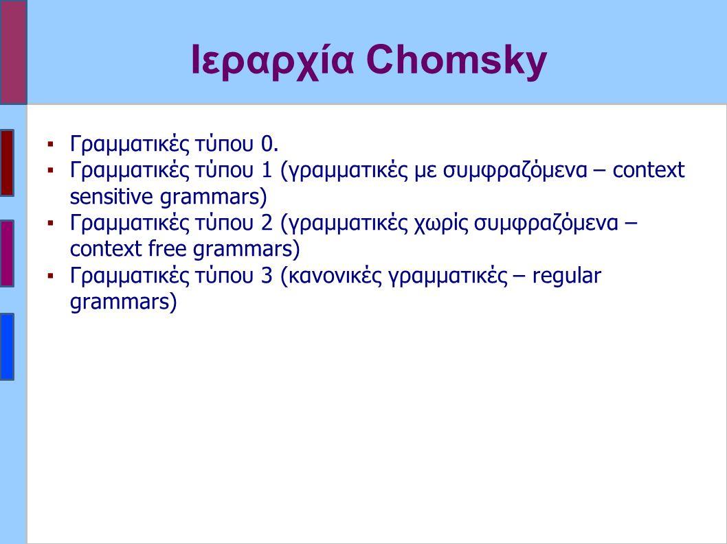 Ιεραρχία Chomsky ▪Γραμματικές τύπου 0.