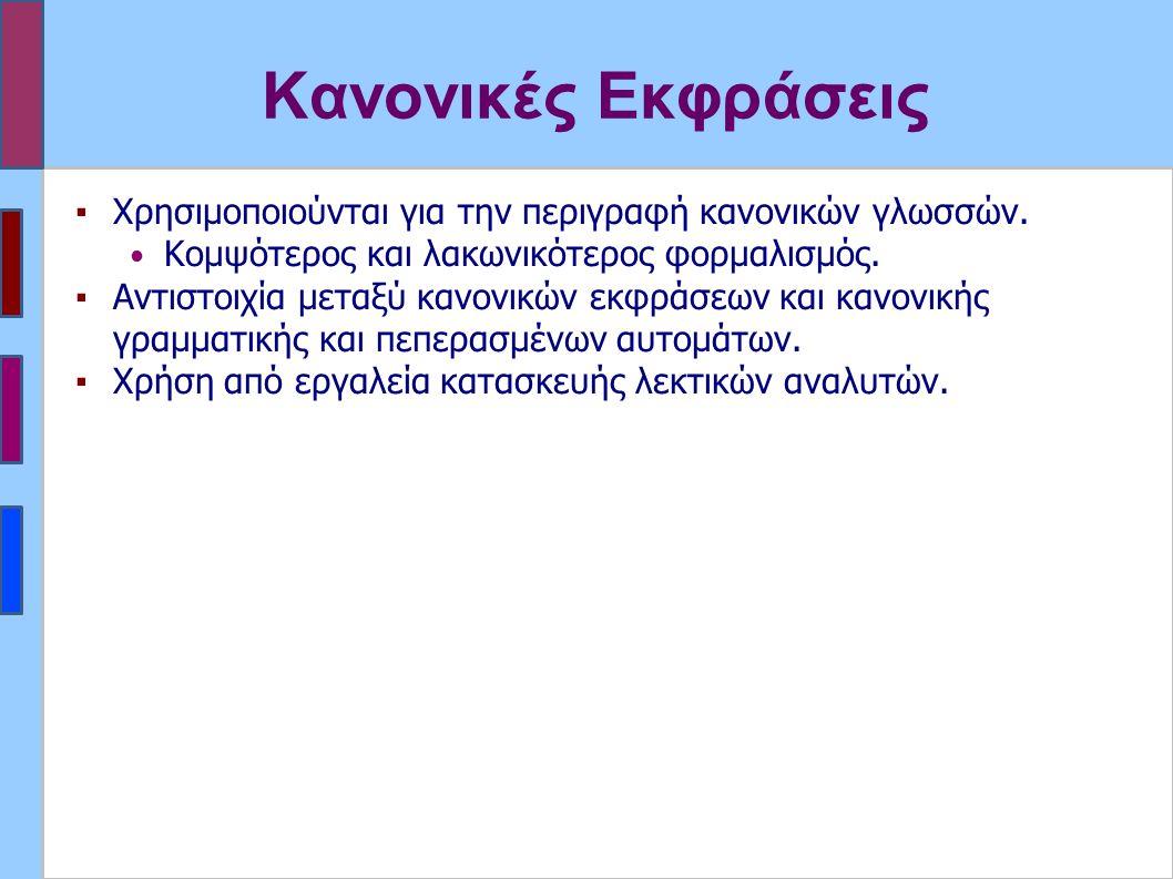 ▪Χρησιμοποιούνται για την περιγραφή κανονικών γλωσσών.