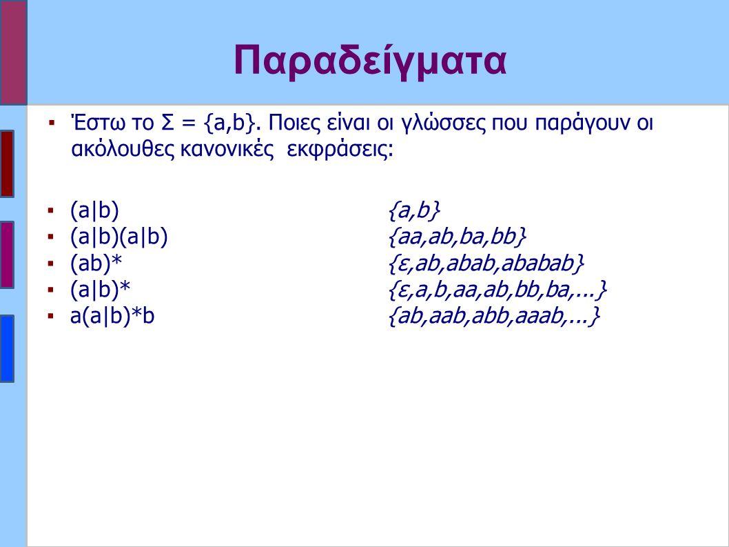 Παραδείγματα ▪(a|b) ▪(a|b)(a|b) ▪(ab)* ▪(a|b)* ▪a(a|b)*b {a,b} {aa,ab,ba,bb} {ε,ab,abab,ababab} {ε,a,b,aa,ab,bb,ba,...} {ab,aab,abb,aaab,...} ▪Έστω το Σ = {a,b}.