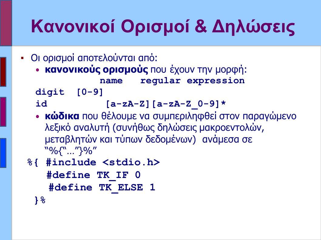 Κανονικοί Ορισμοί & Δηλώσεις ▪Οι ορισμοί αποτελούνται από: κανονικούς ορισμούς που έχουν την μορφή: name regular expression digit[0-9] id[a-zA-Z][a-zA-Z_0-9]* κώδικα που θέλουμε να συμπεριληφθεί στον παραγώμενο λεξικό αναλυτή (συνήθως δηλώσεις μακροεντολών, μεταβλητών και τύπων δεδομένων) ανάμεσα σε %{ … }% %{ #include #define TK_IF 0 #define TK_ELSE 1 }%