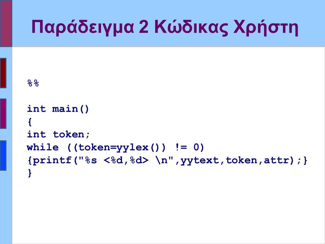 Παράδειγμα 2 Κώδικας Χρήστη % int main() { int token; while ((token=yylex()) != 0) {printf( %s \n ,yytext,token,attr);} }