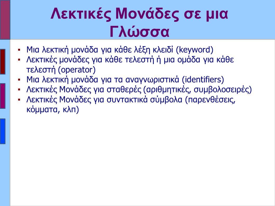 Λεκτικές Μονάδες σε μια Γλώσσα ▪Μια λεκτική μονάδα για κάθε λέξη κλειδί (keyword) ▪Λεκτικές μονάδες για κάθε τελεστή ή μια ομάδα για κάθε τελεστή (operator) ▪Μια λεκτική μονάδα για τα αναγνωριστικά (identifiers) ▪Λεκτικές Μονάδες για σταθερές (αριθμητικές, συμβολοσειρές) ▪Λεκτικές Μονάδες για συντακτικά σύμβολα (παρενθέσεις, κόμματα, κλπ)