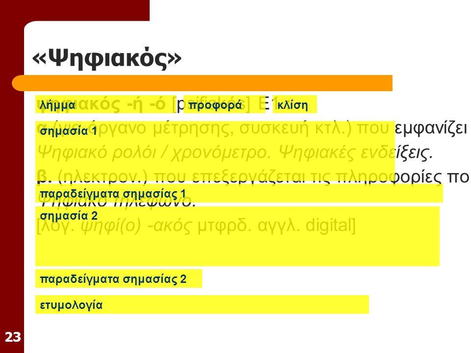 23 «Ψηφιακός» ψηφιακός -ή -ό [psifiakós] E1 : α.(για όργανο μέτρησης, συσκευή κτλ.) που εμφανίζει τις σχετικές με τη λειτουργία του ενδείξεις με ψηφία (αριθμούς ή γράμματα): Ψηφιακό ρολόι / χρονόμετρο.