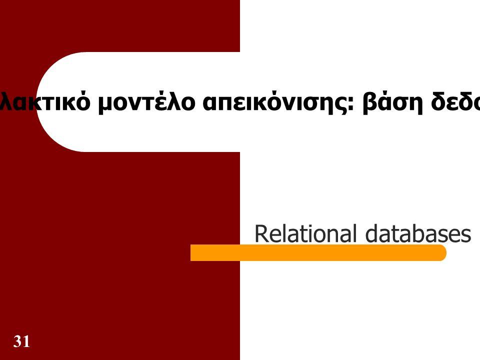 31 Εναλλακτικό μοντέλο απεικόνισης: βάση δεδομένων Relational databases