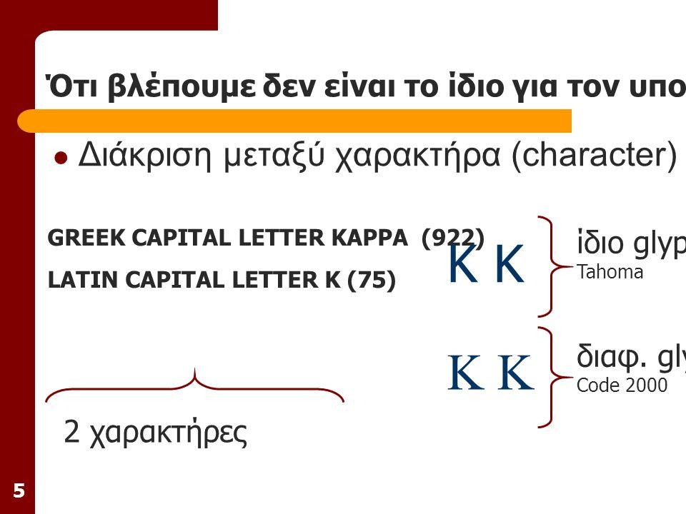 5 Ότι βλέπουμε δεν είναι το ίδιο για τον υπολογιστή Διάκριση μεταξύ χαρακτήρα (character) και απεικόνισης (glyph) GREEK CAPITAL LETTER KAPPA (922) LATIN CAPITAL LETTER K (75) 2 χαρακτήρες ίδιο glyph Tahoma Κ K διαφ.