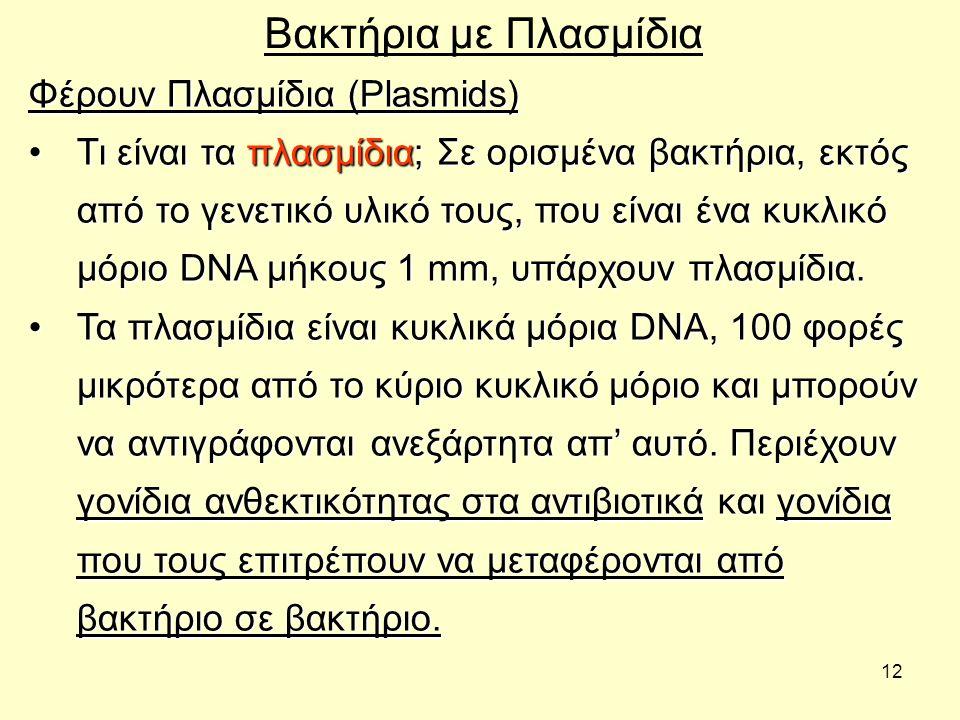 12 Βακτήρια με Πλασμίδια Φέρουν Πλασμίδια (Plasmids) Τι είναι τα πλασμίδια; Σε ορισμένα βακτήρια, εκτός από το γενετικό υλικό τους, που είναι ένα κυκλ