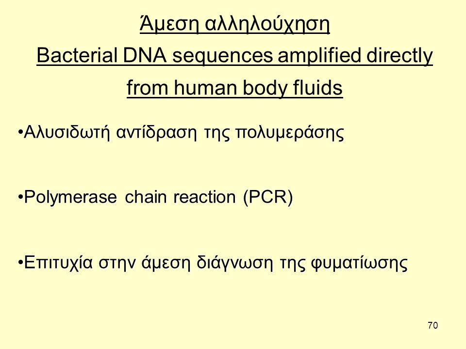 70 Άμεση αλληλούχηση Bacterial DNA sequences amplified directly from human body fluids Αλυσιδωτή αντίδραση της πολυμεράσηςΑλυσιδωτή αντίδραση της πολυ