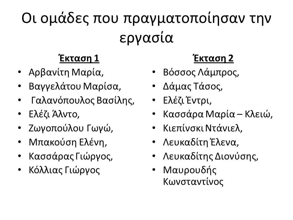 Οι ομάδες που πραγματοποίησαν την εργασία Έκταση 1 Αρβανίτη Μαρία, Βαγγελάτου Μαρίσα, Γαλανόπουλος Βασίλης, Ελέζι Άλντο, Ζωγοπούλου Γωγώ, Μπακούση Ελένη, Κασσάρας Γιώργος, Κόλλιας Γιώργος Έκταση 2 Βόσσος Λάμπρος, Δάμας Τάσος, Ελέζι Έντρι, Κασσάρα Μαρία – Κλειώ, Κιεπίνσκι Ντάνιελ, Λευκαδίτη Έλενα, Λευκαδίτης Διονύσης, Μαυρουδής Κωνσταντίνος