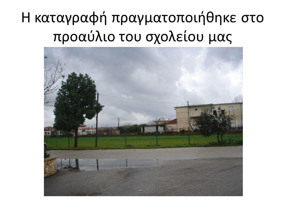 Η καταγραφή πραγματοποιήθηκε στο προαύλιο του σχολείου μας