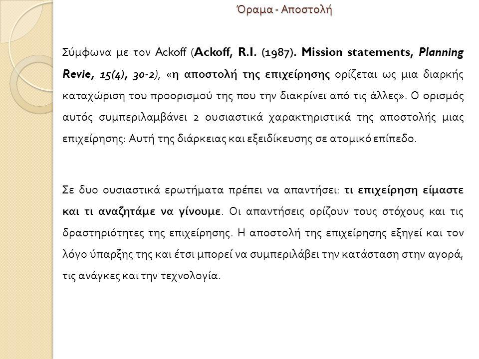 Όραμα - Αποστολή Σύμφωνα με τον Ackoff (Ackoff, R.I.