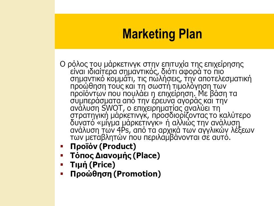 Marketing Plan Ο ρόλος του μάρκετινγκ στην επιτυχία της επιχείρησης είναι ιδιαίτερα σημαντικός, διότι αφορά το πιο σημαντικό κομμάτι, τις πωλήσεις, την αποτελεσματική προώθηση τους και τη σωστή τιμολόγηση των προϊόντων που πουλάει η επιχείρηση.