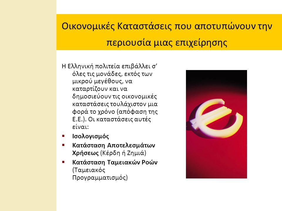 Οικονομικές Καταστάσεις που αποτυπώνουν την περιουσία μιας επιχείρησης Η Ελληνική πολιτεία επιβάλλει σ' όλες τις μονάδες, εκτός των μικρού μεγέθους, να καταρτίζουν και να δημοσιεύουν τις οικονομικές καταστάσεις τουλάχιστον μια φορά το χρόνο (απόφαση της Ε.Ε.).