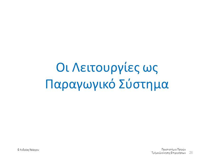 Πανεπιστήμιο Πατρών Τμήμα Διοίκησης Επιχειρήσεων © Ανδρέας Νεάρχου Οι Λειτουργίες ως Παραγωγικό Σύστημα 26