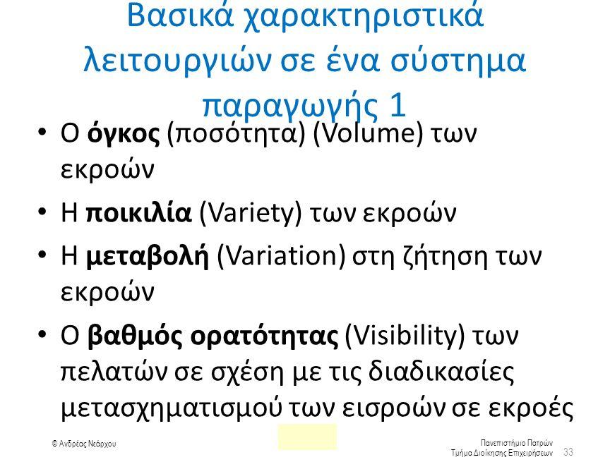 Πανεπιστήμιο Πατρών Τμήμα Διοίκησης Επιχειρήσεων © Ανδρέας Νεάρχου Βασικά χαρακτηριστικά λειτουργιών σε ένα σύστημα παραγωγής 1 Ο όγκος (ποσότητα) (Volume) των εκροών Η ποικιλία (Variety) των εκροών Η μεταβολή (Variation) στη ζήτηση των εκροών Ο βαθμός ορατότητας (Visibility) των πελατών σε σχέση με τις διαδικασίες μετασχηματισμού των εισροών σε εκροές 33