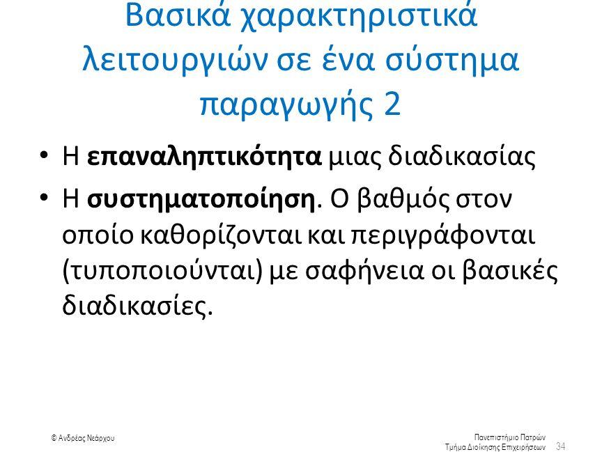 Πανεπιστήμιο Πατρών Τμήμα Διοίκησης Επιχειρήσεων © Ανδρέας Νεάρχου Η επαναληπτικότητα μιας διαδικασίας Η συστηματοποίηση.