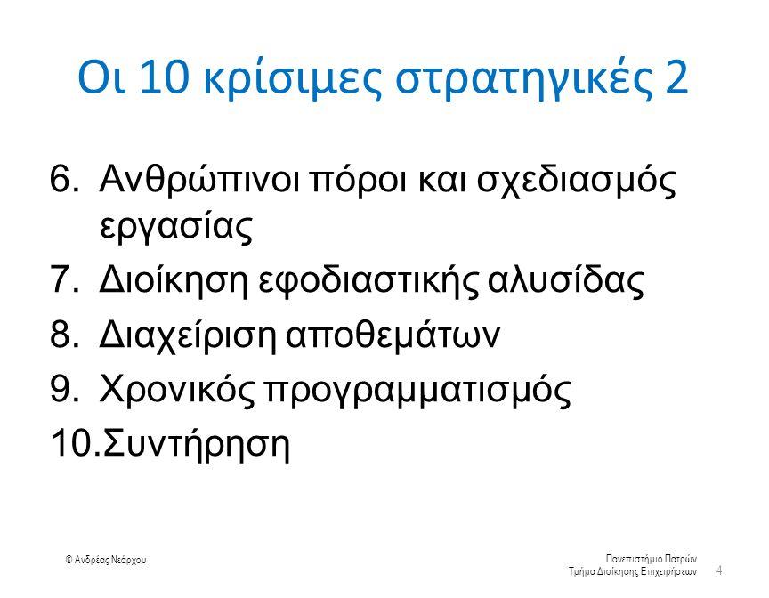 Πανεπιστήμιο Πατρών Τμήμα Διοίκησης Επιχειρήσεων © Ανδρέας Νεάρχου Οι 10 κρίσιμες στρατηγικές 2 6.Ανθρώπινοι πόροι και σχεδιασμός εργασίας 7.Διοίκηση εφοδιαστικής αλυσίδας 8.Διαχείριση αποθεμάτων 9.Χρονικός προγραμματισμός 10.Συντήρηση 4