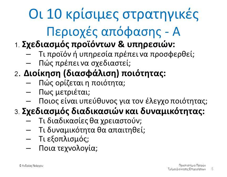 Πανεπιστήμιο Πατρών Τμήμα Διοίκησης Επιχειρήσεων © Ανδρέας Νεάρχου Οι 10 κρίσιμες στρατηγικές Περιοχές απόφασης - Α 1.