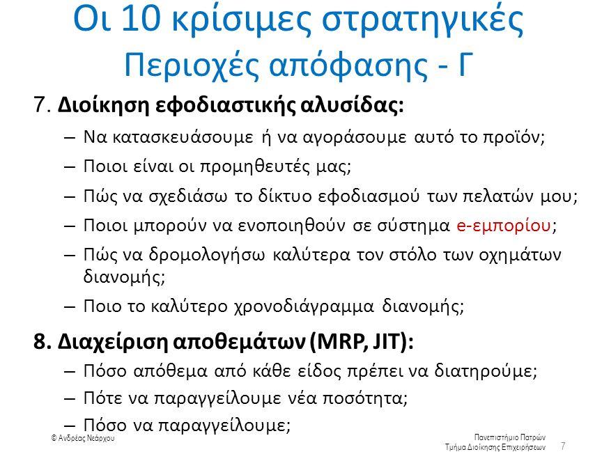 Πανεπιστήμιο Πατρών Τμήμα Διοίκησης Επιχειρήσεων © Ανδρέας Νεάρχου Οι 10 κρίσιμες στρατηγικές Περιοχές απόφασης - Γ 7.