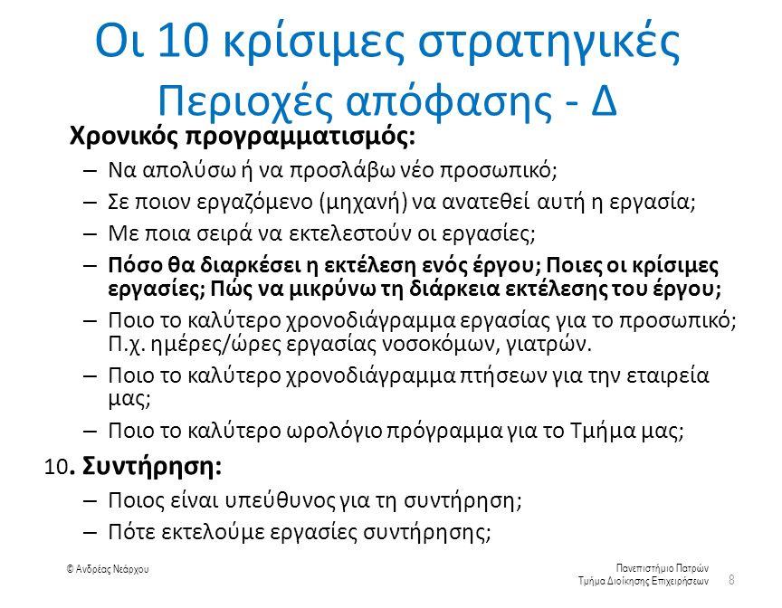 Πανεπιστήμιο Πατρών Τμήμα Διοίκησης Επιχειρήσεων © Ανδρέας Νεάρχου Οι 10 κρίσιμες στρατηγικές Περιοχές απόφασης - Δ 9.