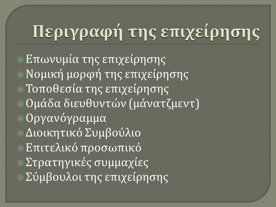 Επωνυμία της επιχείρησης  Νομική μορφή της επιχείρησης  Τοποθεσία της επιχείρησης  Ομάδα διευθυντών ( μάνατζμεντ )  Οργανόγραμμα  Διοικητικό Συμβούλιο  Επιτελικό προσωπικό  Στρατηγικές συμμαχίες  Σύμβουλοι της επιχείρησης