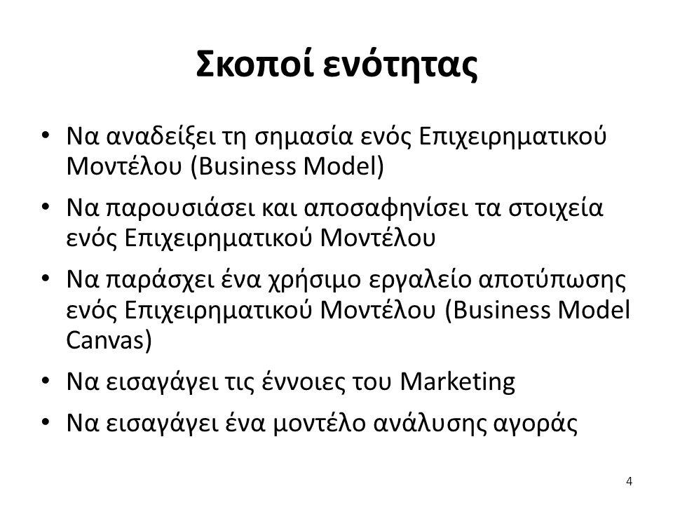 Σκοποί ενότητας Να αναδείξει τη σημασία ενός Επιχειρηματικού Μοντέλου (Business Model) Να παρουσιάσει και αποσαφηνίσει τα στοιχεία ενός Επιχειρηματικού Μοντέλου Να παράσχει ένα χρήσιμο εργαλείο αποτύπωσης ενός Επιχειρηματικού Μοντέλου (Business Model Canvas) Να εισαγάγει τις έννοιες του Marketing Να εισαγάγει ένα μοντέλο ανάλυσης αγοράς 4