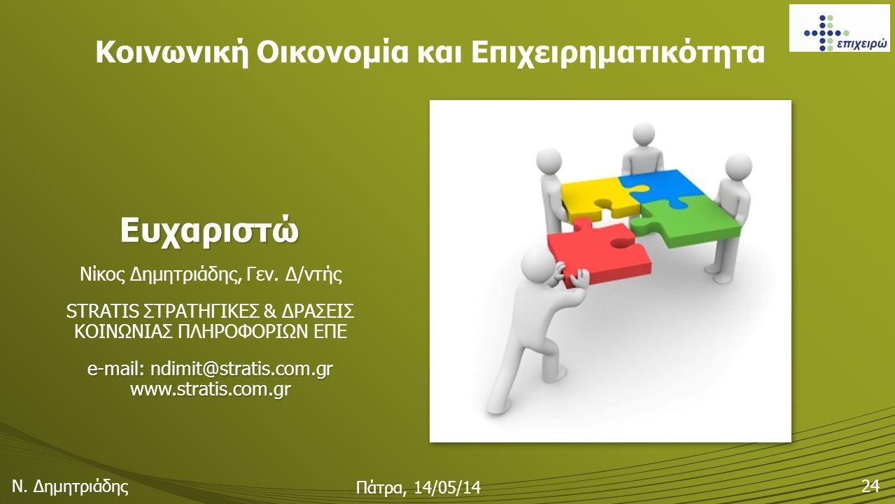 Ευχαριστώ Νίκος Δημητριάδης, Γεν. Δ/ντής STRATIS ΣΤΡΑΤΗΓΙΚΕΣ & ΔΡΑΣΕΙΣ ΚΟΙΝΩΝΙΑΣ ΠΛΗΡΟΦΟΡΙΩΝ ΕΠΕ e-mail: ndimit@stratis.com.gr www.stratis.com.gr Κοιν