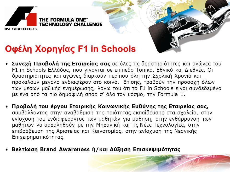 Οφέλη Χορηγίας F1 in Schools Συνεχή Προβολή της Εταιρείας σας σε όλες τις δραστηριότητες και αγώνες του F1 in Schools Ελλάδος, που γίνονται σε επίπεδο Τοπικό, Εθνικό και Διεθνές.