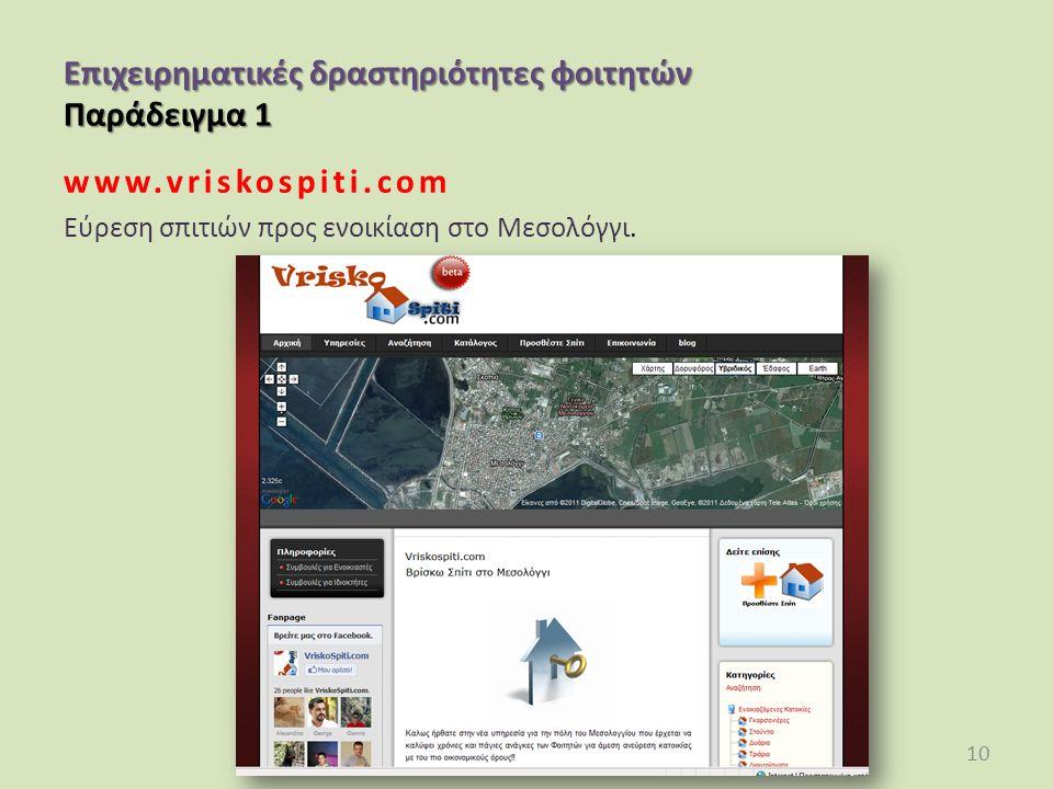 Επιχειρηματικές δραστηριότητες φοιτητών Παράδειγμα 1 www.vriskospiti.com Εύρεση σπιτιών προς ενοικίαση στο Μεσολόγγι.
