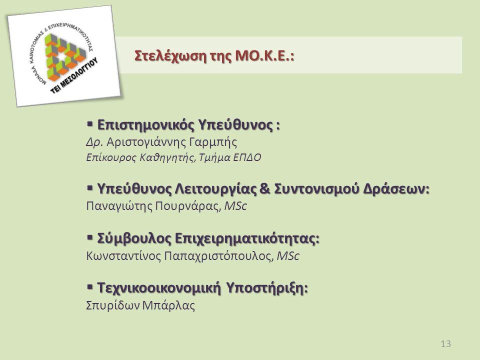 Στελέχωση της ΜΟ.Κ.Ε.: Στελέχωση της ΜΟ.Κ.Ε.: 13  Επιστημονικός Υπεύθυνος : Δρ.