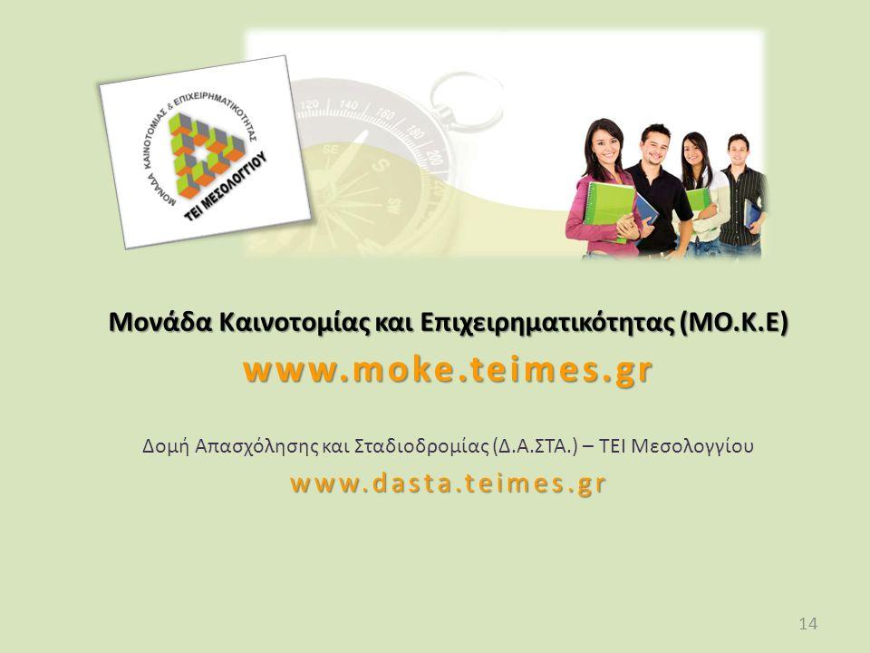 14 Μονάδα Καινοτομίας και Επιχειρηματικότητας (ΜΟ.Κ.Ε) www.moke.teimes.gr Δομή Απασχόλησης και Σταδιοδρομίας (Δ.Α.ΣΤΑ.) – ΤΕΙ Μεσολογγίουwww.dasta.teimes.gr