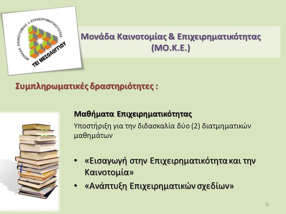 Συμπληρωματικές δραστηριότητες : Μαθήματα Επιχειρηματικότητας Υποστήριξη για την διδασκαλία δύο (2) διατμηματικών μαθημάτων «Εισαγωγή στην Επιχειρηματικότητα και την Καινοτομία» «Εισαγωγή στην Επιχειρηματικότητα και την Καινοτομία» «Ανάπτυξη Επιχειρηματικών σχεδίων» «Ανάπτυξη Επιχειρηματικών σχεδίων» Μονάδα Καινοτομίας & Επιχειρηματικότητας (ΜO.Κ.Ε.) 6