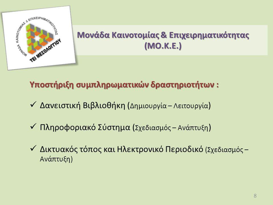 Υποστήριξη συμπληρωματικών δραστηριοτήτων : Δανειστική Βιβλιοθήκη ( Δημιουργία – Λειτουργία ) Πληροφοριακό Σύστημα ( Σχεδιασμός – Ανάπτυξη ) Δικτυακός τόπος και Ηλεκτρονικό Περιοδικό (Σχεδιασμός – Ανάπτυξη) Μονάδα Καινοτομίας & Επιχειρηματικότητας (ΜO.Κ.Ε.) 8