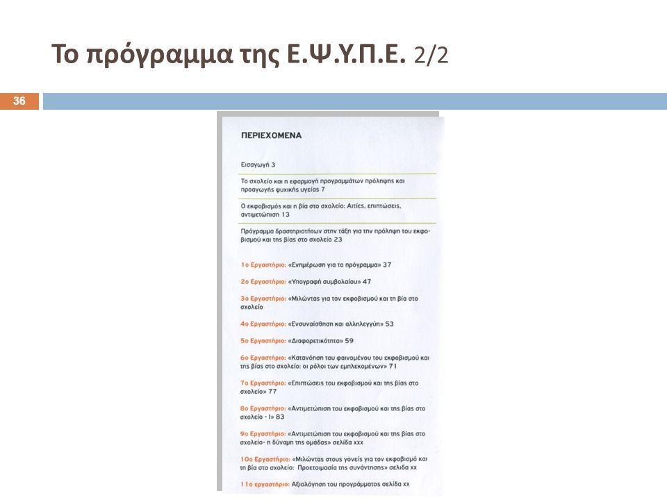 To πρόγραμμα της Ε.Ψ.Υ.Π.Ε. 2/2 36