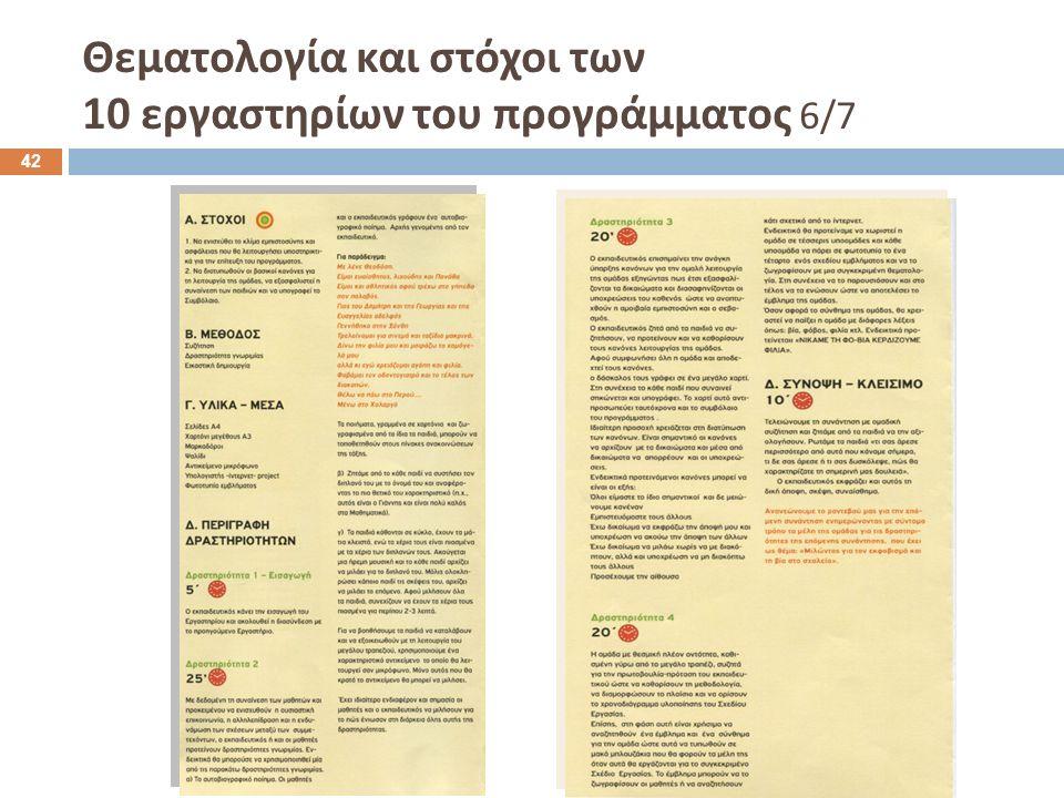 Θεματολογία και στόχοι των 10 εργαστηρίων του προγράμματος 6/7 42