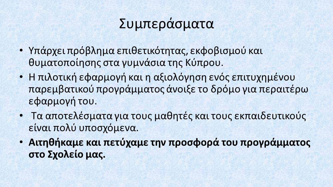Συμπεράσματα Υπάρχει πρόβλημα επιθετικότητας, εκφοβισμού και θυματοποίησης στα γυμνάσια της Κύπρου.