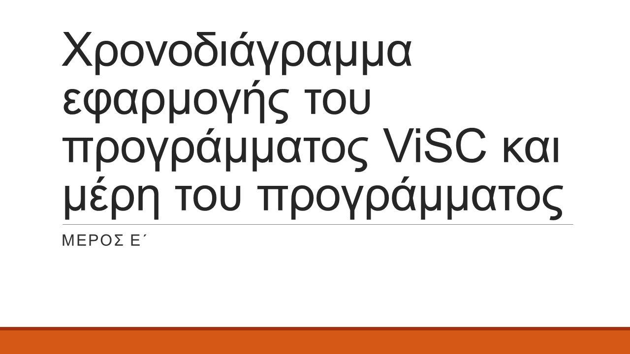 Χρονοδιάγραμμα εφαρμογής του προγράμματος ViSC και μέρη του προγράμματος ΜEΡΟΣ Ε΄