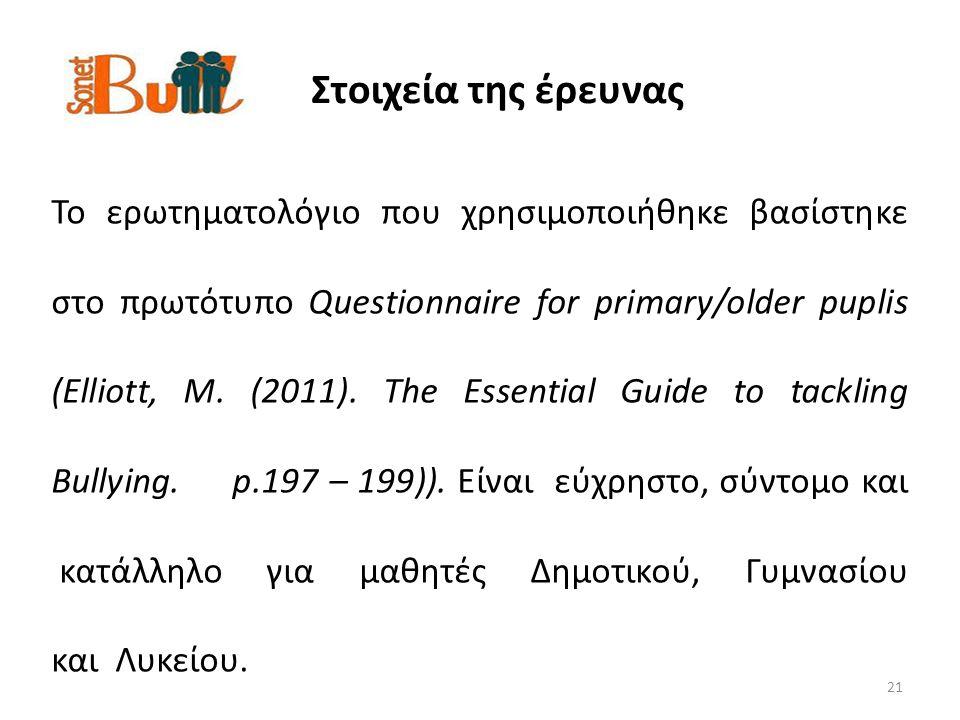 Στοιχεία της έρευνας 21 Το ερωτηματολόγιο που χρησιμοποιήθηκε βασίστηκε στο πρωτότυπο Questionnaire for primary/older puplis (Elliott, M.