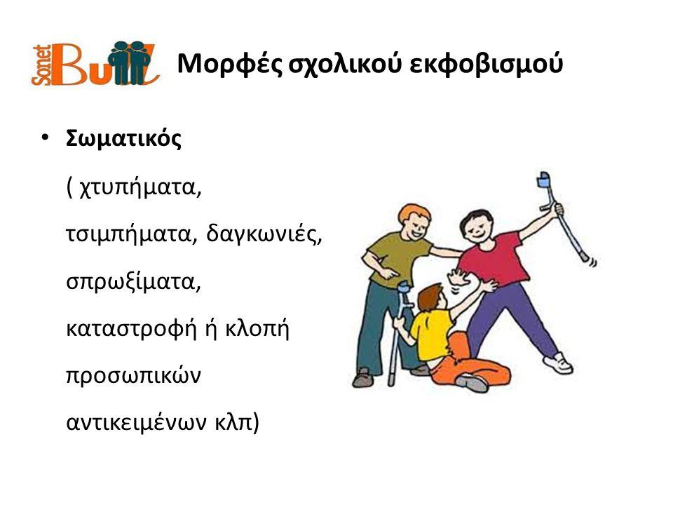 Μορφές σχολικού εκφοβισμού Κοινωνικός ( αποκλεισμός από κοινωνικές δραστηριότητες και απομόνωση του θύματος όταν επιχειρεί συμμετοχή σε ομάδα κλπ)