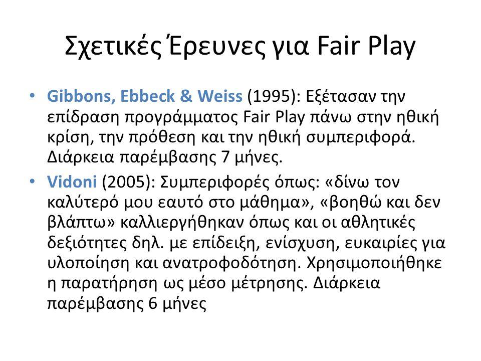 Σχετικές Έρευνες για Fair Play Gibbons, Ebbeck & Weiss (1995): Εξέτασαν την επίδραση προγράμματος Fair Play πάνω στην ηθική κρίση, την πρόθεση και την ηθική συμπεριφορά.
