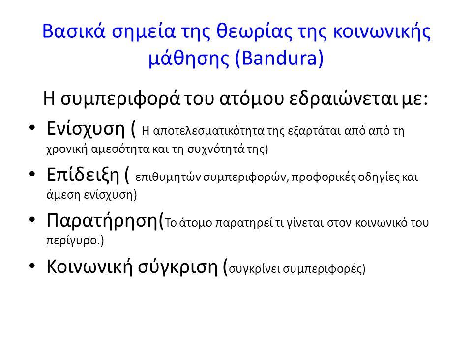 Βασικά σημεία της θεωρίας της κοινωνικής μάθησης (Bandura) Η συμπεριφορά του ατόμου εδραιώνεται με: Ενίσχυση ( Η αποτελεσματικότητα της εξαρτάται από από τη χρονική αμεσότητα και τη συχνότητά της) Επίδειξη ( επιθυμητών συμπεριφορών, προφορικές οδηγίες και άμεση ενίσχυση) Παρατήρηση( To άτομο παρατηρεί τι γίνεται στον κοινωνικό του περίγυρο.) Κοινωνική σύγκριση ( συγκρίνει συμπεριφορές)