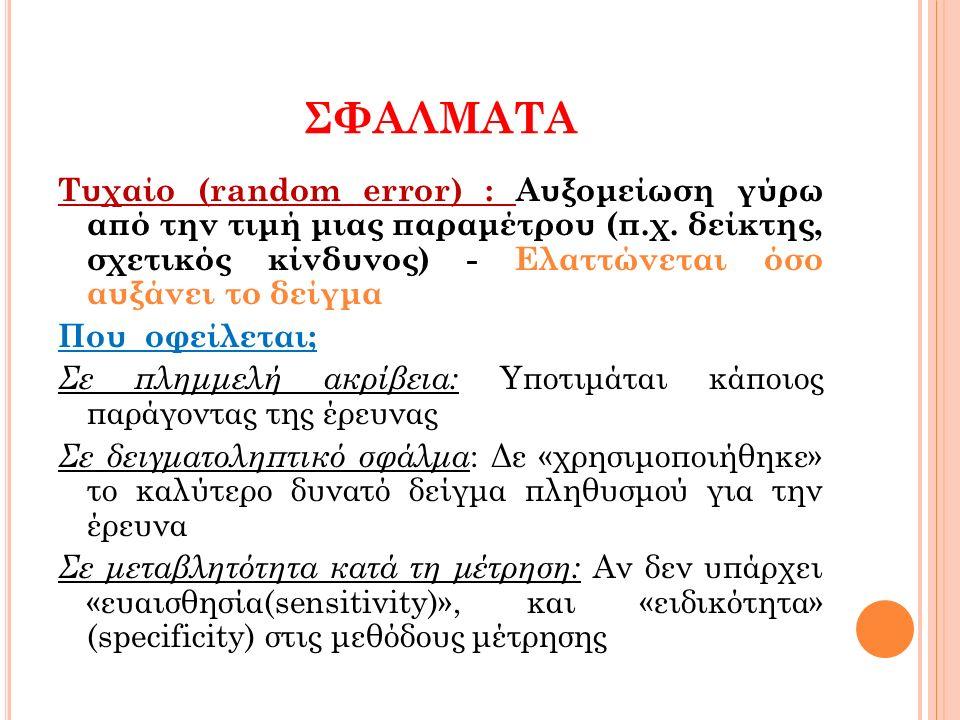 ΣΦΑΛΜΑΤΑ Τυχαίο (random error) : Αυξομείωση γύρω από την τιμή μιας παραμέτρου (π.χ.