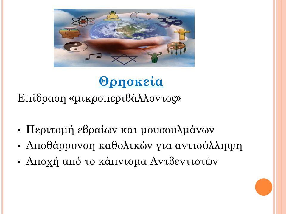 Θρησκεία Επίδραση «μικροπεριβάλλοντος»  Περιτομή εβραίων και μουσουλμάνων  Αποθάρρυνση καθολικών για αντισύλληψη  Αποχή από το κάπνισμα Αντβεντιστών