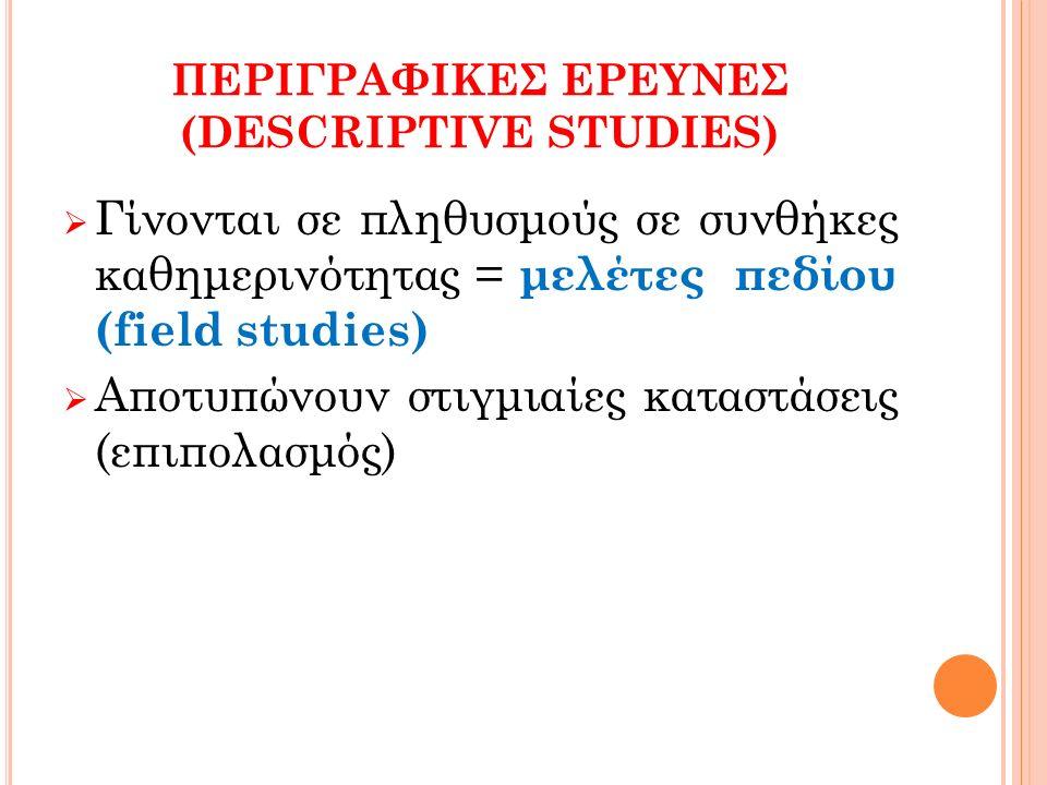 ΠΕΡΙΓΡΑΦΙΚΕΣ ΕΡΕΥΝΕΣ (DESCRIPTIVE STUDIES)  Γίνονται σε πληθυσμούς σε συνθήκες καθημερινότητας = μελέτες πεδίου (field studies)  Αποτυπώνουν στιγμιαίες καταστάσεις (επιπολασμός)