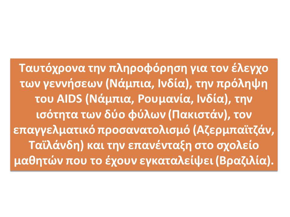 Ταυτόχρονα την π ληροφόρηση για τον έλεγχο των γεννήσεων ( Νάμ π ια, Ινδία ), την π ρόληψη του AIDS ( Νάμ π ια, Ρουμανία, Ινδία ), την ισότητα των δύο