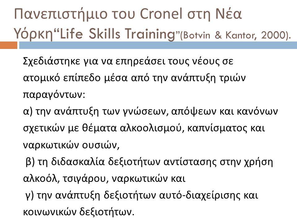 """Πανεπιστήμιο του Cronel στη Νέα Υόρκη """"Life Skills Training """"(Botvin & Kantor, 2000). Σχεδιάστηκε για να επηρεάσει τους νέους σε ατομικό επίπεδο μέσα"""