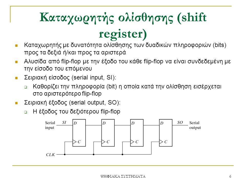Καταχωρητής ολίσθησης (shift register) Καταχωρητής με δυνατότητα ολίσθησης των δυαδικών πληροφοριών (bits) προς τα δεξιά ή/και προς τα αριστερά Αλυσίδα από flip-flop με την έξοδο του κάθε flip-flop να είναι συνδεδεμένη με την είσοδο του επόμενου Σειριακή είσοδος (serial input, SI):  Καθορίζει την πληροφορία (bit) η οποία κατά την ολίσθηση εισέρχεται στο αριστερότερο flip-flop Σειριακή έξοδος (serial output, SO):  Η έξοδος του δεξιότερου flip-flop 6 ΨΗΦΙΑΚΑ ΣΥΣΤΗΜΑΤΑ