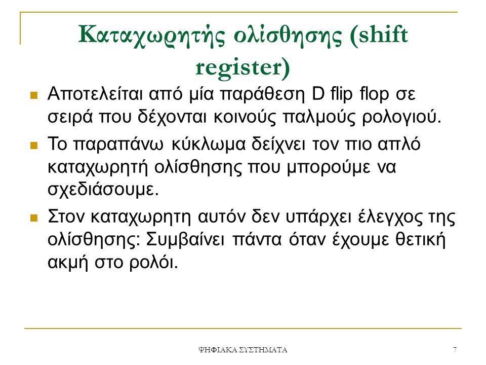 Καταχωρητής ολίσθησης (shift register) Αποτελείται από μία παράθεση D flip flop σε σειρά που δέχονται κοινούς παλμούς ρολογιού.