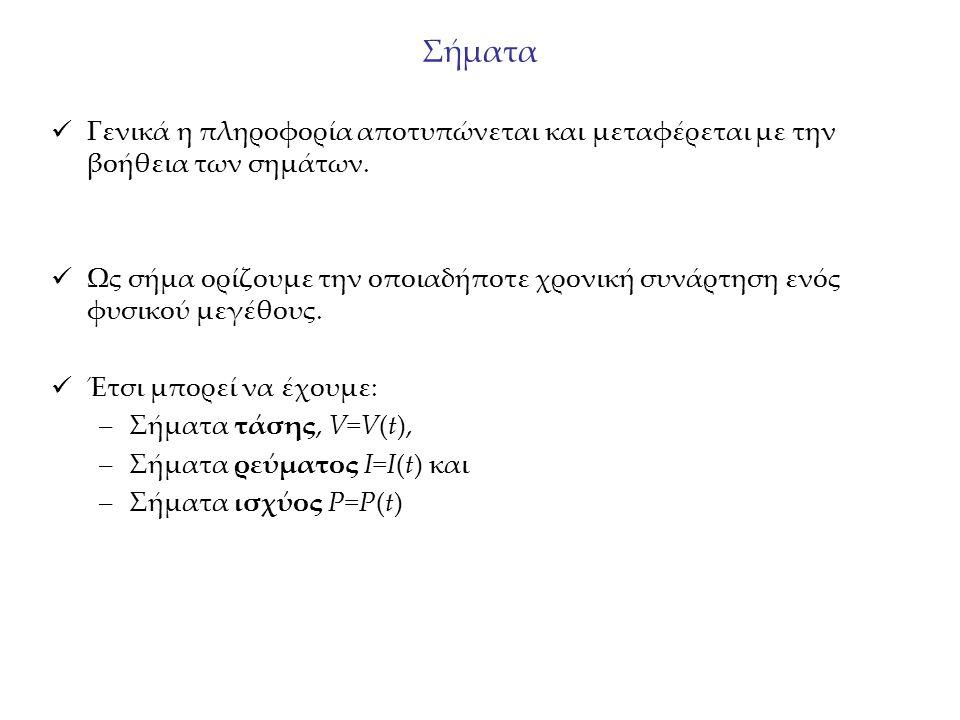 Σήματα συνεχούς – διακριτού χρόνου Ένα σήμα x(t) ορίζεται ως: Σήμα συνεχούς χρόνου εάν η μεταβλητή t είναι συνεχής.